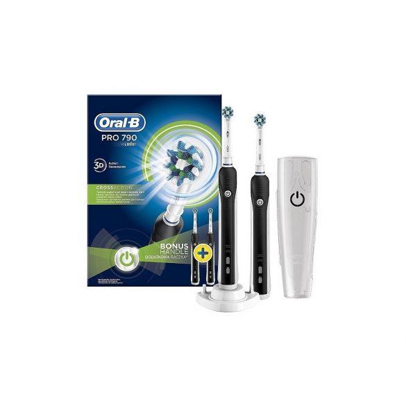 Oral-B Pro 790 fekete 2 db markolat elektromos fogkefe útitokkal Cross Action fejjel