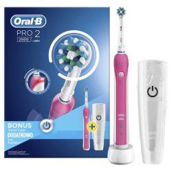 Oral-B PRO 2500 rózsaszín 3D White Elektromos Fogkefe útitokkal