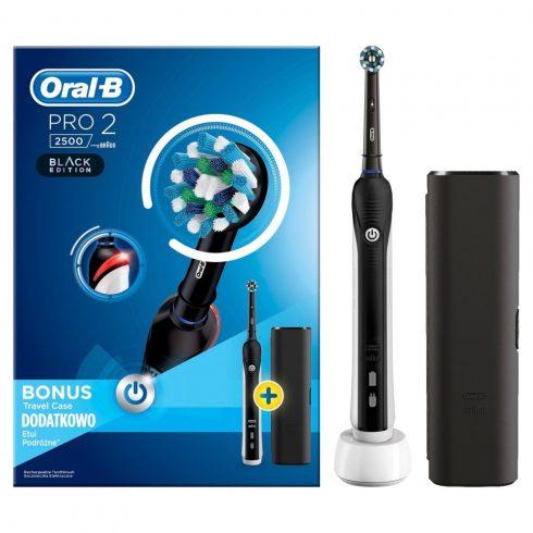 Oral-B PRO 2 2500 fekete Cross Action Elektromos Fogkefe útitokkal