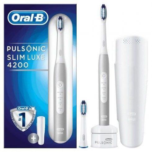Oral-B Pulsonic Slim Luxe 4200 szónikus elektromos fogkefe útitokkal, platinum