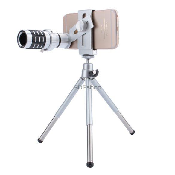 Quazar Mobilescope Zoom 12x Teleobjektív okostelefonokhoz mini fotóállvánnyal